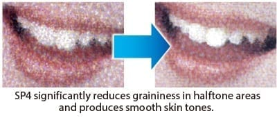 SP4 significantly reduces graininess in halftone areasand produces smooth skin tones.