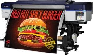 Epson SureColor SC-S40600 Large Format Solvent Printer Printing Burger Advert