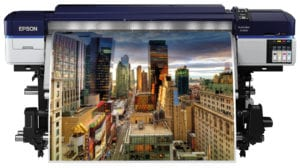 Epson SureColor SC-S40600 Large Format Solvent Printer Printing Image of city