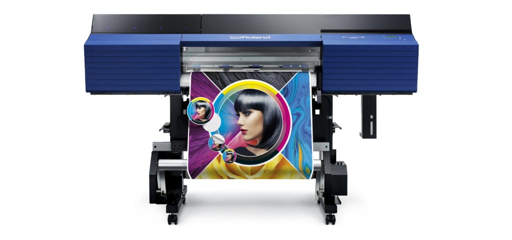 Roland SG 300 Forward facing and printing a colourfull vibrant image of a women.